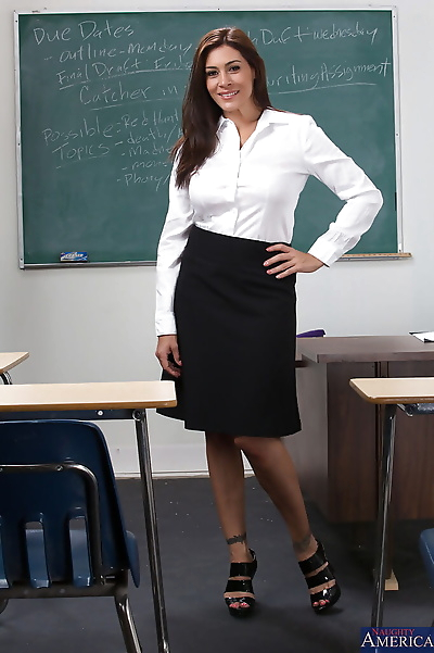 Smiley brunette teacher with..