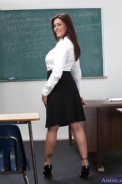 Smiley brunette teacher with..