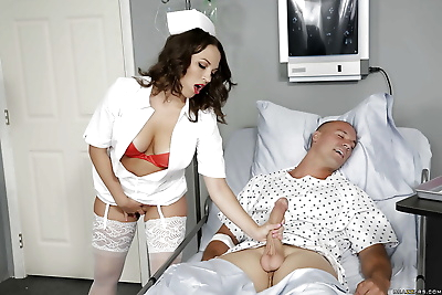 Stocking attired nurse Lily..